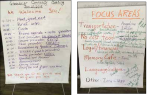Two flip charts side by side with lots of hand writing. One shows an agenda. The other says focus areas.