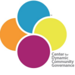 Four overlapping circle colored blue, yellow, red, orange with Center for Dynamic Community Governance name